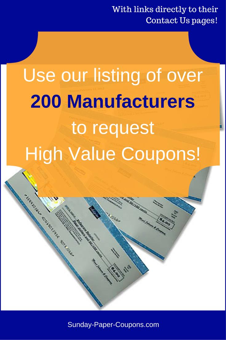 Manufacturer coupons mail