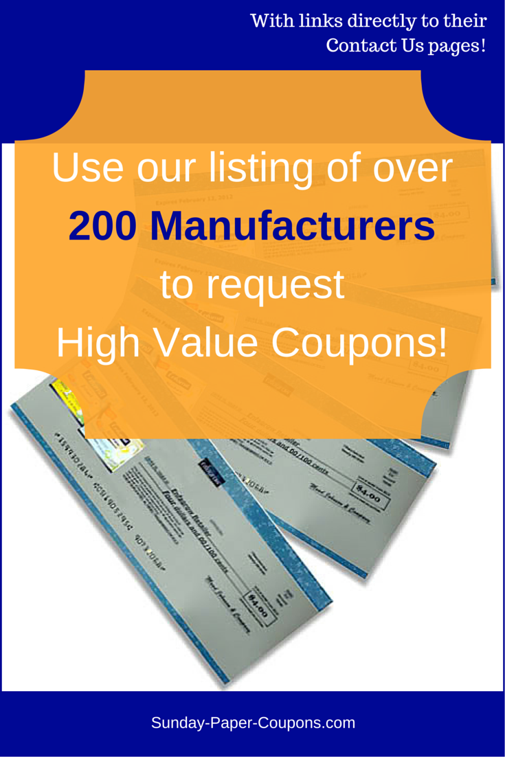 Free Manufacturer Coupons