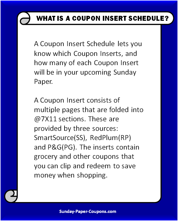 What is a Coupon Insert Schedule